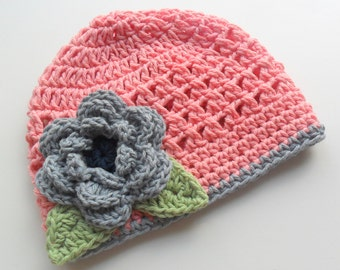 Baby Girl Hat, Toddler Hat, Baby Hat, Baby Girl Crochet Beanie Hat with Flower,  Country Pink, Denim Blue, Sage Green, MADE TO ORDER