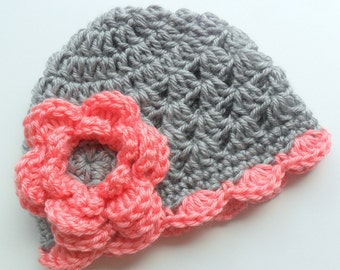 Crochet Baby Hat, Gray and Strawberry Pink,  Scalloped Crocheted Beanie Hat for Girls,  Baby Girl Hat, Toddler Crochet Hat, MADE TO ORDER