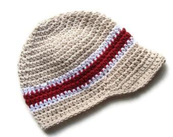 Baby Boy Hat, Toddler Boy Hat, Boys Crochet Visor Beanie, Ecru, White, Country Red, MADE TO ORDER