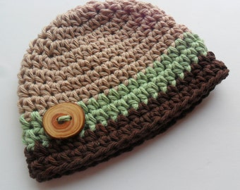 Infant Baby Boy Hat,  Baby Boy Cotton Crochet Beanie Hat, Tan, Sage Green, Chocolate, 0-3 Month, MADE TO ORDER