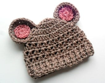 Baby Girl hat, Crochet Baby Hat, Infant Crochet Hat, Crochet Baby Beanie Hat with Ears, Taupe and Rose Pink, 0-3 Months, MADE TO ORDER