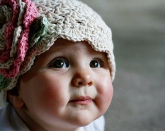Crochet Hat, Baby Girl Hat, Crochet Baby Hat, Infant Hat, Crochet Hat with Flower, Baby Hat with Flower, Baby Crochet Hat, MADE TO ORDER
