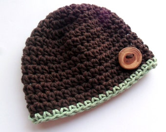 Boys Crochet hat, Infant hat, Baby Boy Crochet Hat, 0-3 Months, Baby Boy Cotton Crochet Hat, Chocolate Brown and Celery, MADE TO ORDER