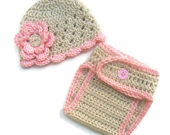 Infant/Baby Girls Crochet Beanie Hat and Diaper Cover Set-Great for professional photography-MADE TO ORDER