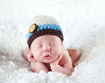 Baby Boy Crochet Beanie Hat, Newborn Crochet Hat, Infant Winter Hat, Boys Crochet Hat, Baby Boy, 0-3 Months Brown, Ecru, Blue MADE TO ORDER
