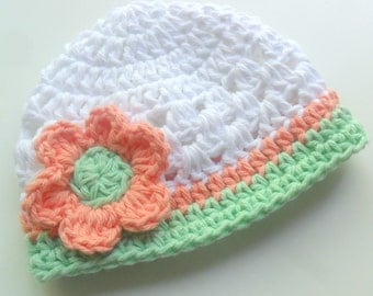 Baby Girl Hat, Girls Crochet Cotton Beanie Hat with Flower, Girls Hat, Summer, Spring Crochet Hat, White, Coral, Mint Green, MADE TO ORDER