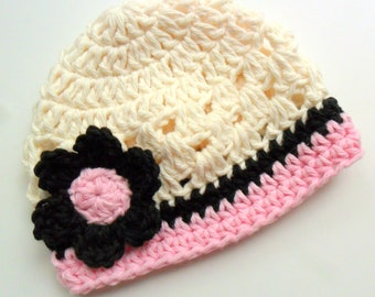 Crochet Baby Hat, Infant Beanie Hat, Baby Girl Hat, Toddler Crochet Hat, Baby Hat, Cotton Hat, Cream, Light Pink, Black, MADE TO ORDER