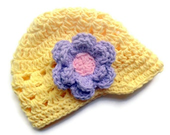 Newborn Crochet Baby Hat,  Crochet Visor Beanie Hat, Yellow and Lavender and Pink, READY TO SHIP in a size Newborn-3 months