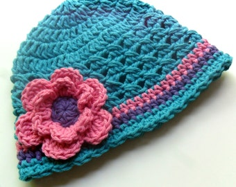 Baby Girl Crochet Hat, Infant Crochet Hat with Flower, Girls Crochet Beanie Hat, Toddler Hat, Summer Hat, Turquoise, Hot Pink, MADE TO ORDER