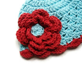 Baby Girl Hat, Crochet Baby Hat, Girls Cotton Crochet Beanie Hat, Winter Hat, Summer Hat, Robins Egg Blue and Country Red, MADE TO ORDER