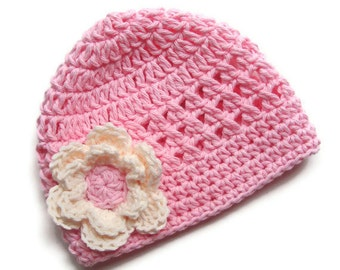 Baby Hat, Crochet Baby Hat, Baby Girl Hat with Flower, Infant Winter Hat, Summer Hat, Toddler Crochet Hat, Pink and Cream, MADE TO ORDER