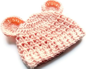 Baby Girl Hat, Crochet Baby Girl Hat,  Crochet Baby Hat, Crochet Beanie Hat with Ears, Teddy Bear Hat, Peach, 0-3 months, MADE TO ORDER