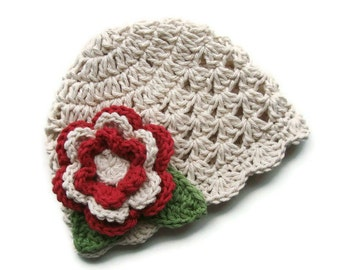 Crochet Baby Hat, Crochet Infant beanie hat with Flower, ecru, country red, sage green-MADE TO ORDER