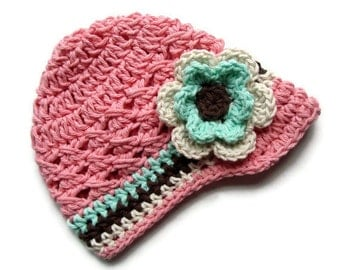Baby Hat, Baby Girl Crochet Visor Hat, Baby Girl Hat, Crochet Baby Hat, Crochet Winter Hat, Pink, Brown, Mint and Ecru, MADE TO ORDER