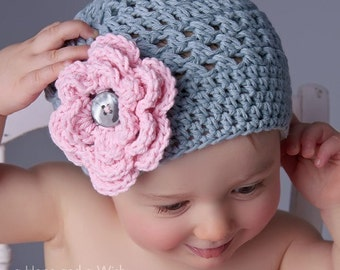 Baby girl Hat, Toddler Crochet Hat, Infant Winter Hat, Baby Hat, Crochet Baby Hat, Girls Cotton Beanie Hat, Gray and pink, MADE TO ORDER