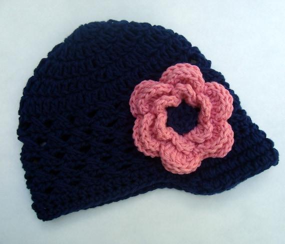 Baby Girl Hat, Crochet Baby Hat, Girls Crochet Hat, Baby Girl, Visor Hat, Toddler Crochet Hat, Winter Hat, Navy Blue, Pink, MADE TO ORDER