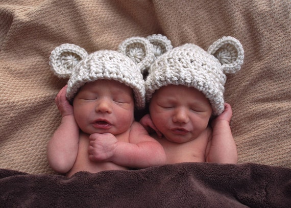 Crochet Baby Hats, Baby Girl Hats, Baby Boy Hats, Set of Two Crochet Baby Hats with Ears, 0-3 months, in your color choices, MADE TO ORDER