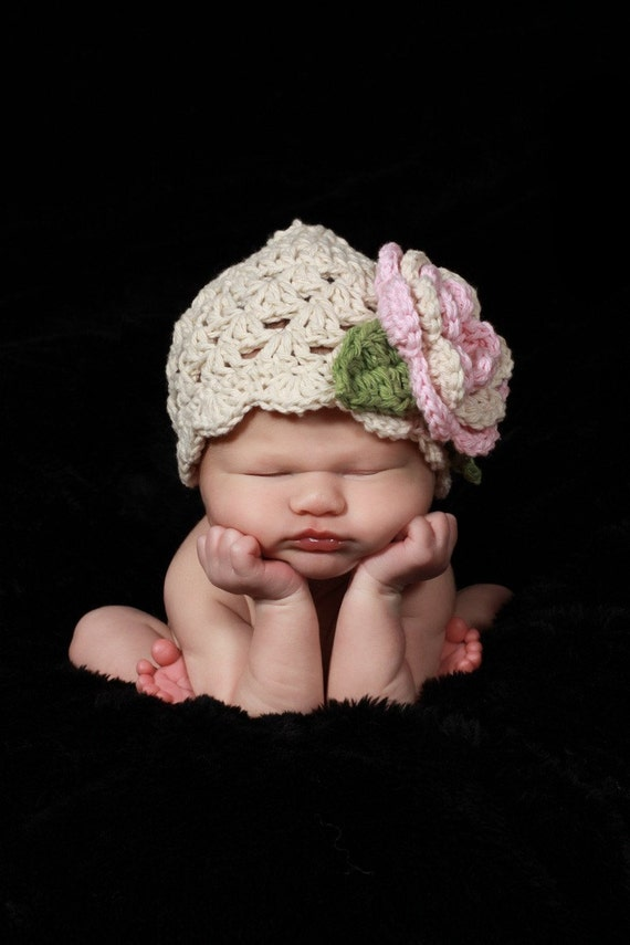 Baby Girl Hat, Crochet Baby Hat, Summer Hat, Crochet Beanie Hat for infant, toddler or Girls, ecru, pastel pink, sage green, MADE TO ORDER