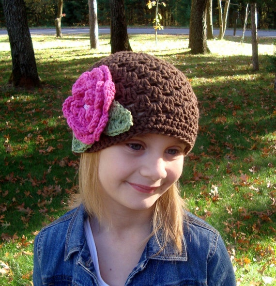 Crochet Baby Hat, Toddler Hat, Baby Girl Hat, Cotton Crochet Beanie Hat, Chocolate Brown, Hot Pink, Light Pink, Sage Green, MADE TO ORDER