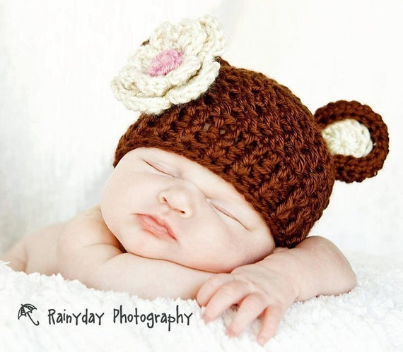 Baby Girl Hat, Crochet Baby Hat, Newborn Crochet Beanie Hat with Bear Ears and Flower, Baby, Chocolate Brown, Oatmeal, Pink, MADE TO ORDER