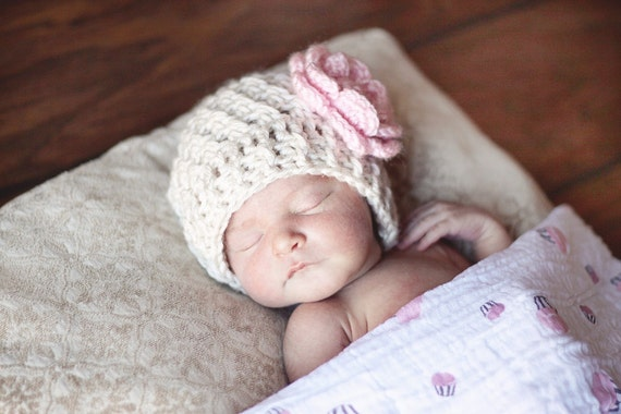 Baby Girl Crochet Baby Beanie Hat,  Winter Baby Beanie Hat With Flower, Baby Girl Hat, Baby Beanie Hat, Infant Winter Hat, MADE TO ORDER
