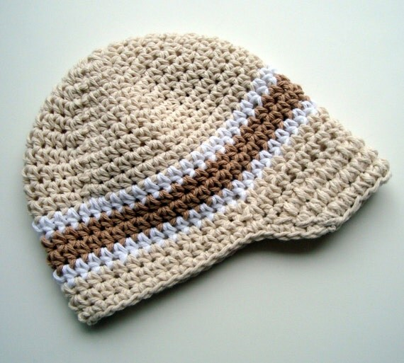 Crochet Visor Beanie Hat, Baby Boy Hat, Boys Winter Hat, Boys Crochet Hat, Boys Visor Hat, Visor Beanie, Ecru, White and Tan, MADE TO ORDER