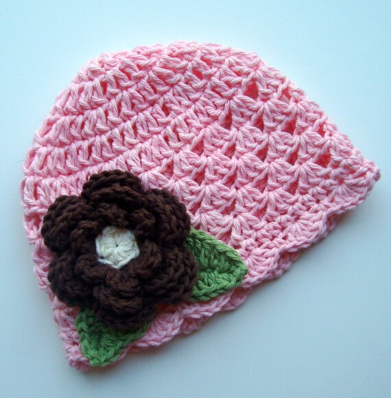 Baby Hat, Crochet Baby Hat, Toddler Hat, Hat with Flower, Girls Crochet Hat, Baby Hat, Beanie Hat, Baby Girl, MADE TO ORDER, Pink and Brown