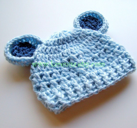 Crochet Baby Hat with Ears, Baby Boy Hat, Boys Winter Hat, Newborn Crochet Hat, Infant Boys Hat, Light Blue, Baby Blue, MADE TO ORDER