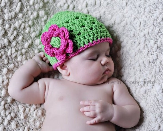 Crochet Baby Hat, Infant Crochet Hat, Baby Girl, Crochet Hat, Toddler, Summer Crochet Hat, Baby Hat, Lime Green and Hot Pink, MADE TO ORDER