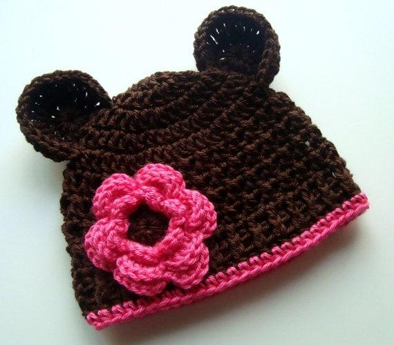 Free Crochet Pattern Baby Beanie With Brim : Crochet Baby Hat Crochet Beanie Hat with Ears and Flower