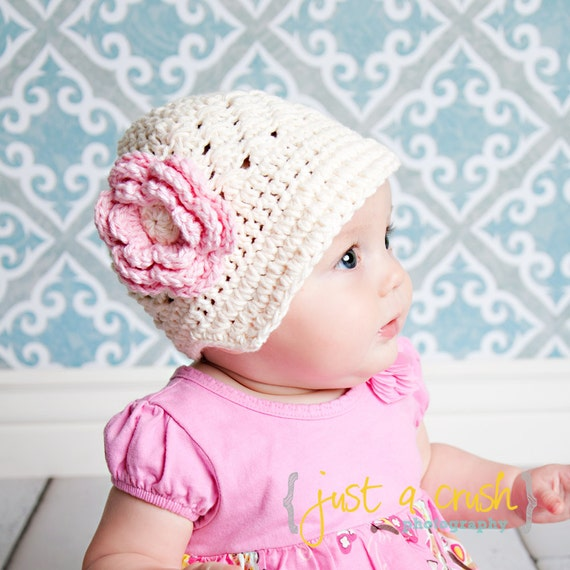 Baby Girl Hat, Crochet Baby Hat, Crochet Visor Beanie Hat, Baby Girl, Toddler Crochet Hat, Infant Winter Hat, Cream and Pink, MADE TO ORDER