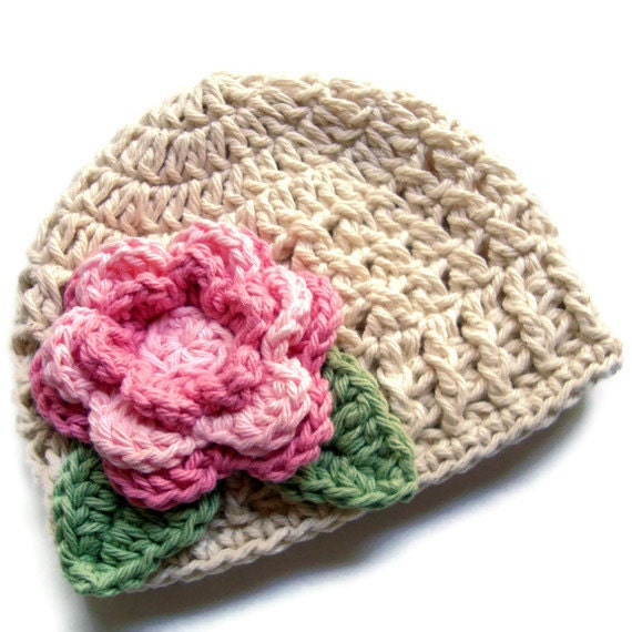 Crochet Baby Hat with Flower, Infant or Toddler Girls Crochet Cotton Beanie Hat , MADE TO ORDER, Ecru, Light Pink, Rose Pink, Sage Green