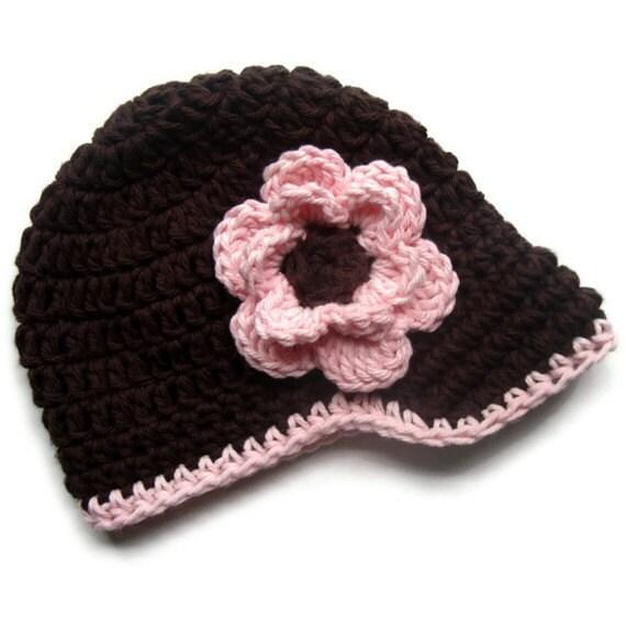 Crochet Baby Girl Hat, Crochet Toddler Hat, Crochet Visor beanie Hat, Brown and Pink, Newborn Crochet Hat, Toddler Hat, MADE TO ORDER