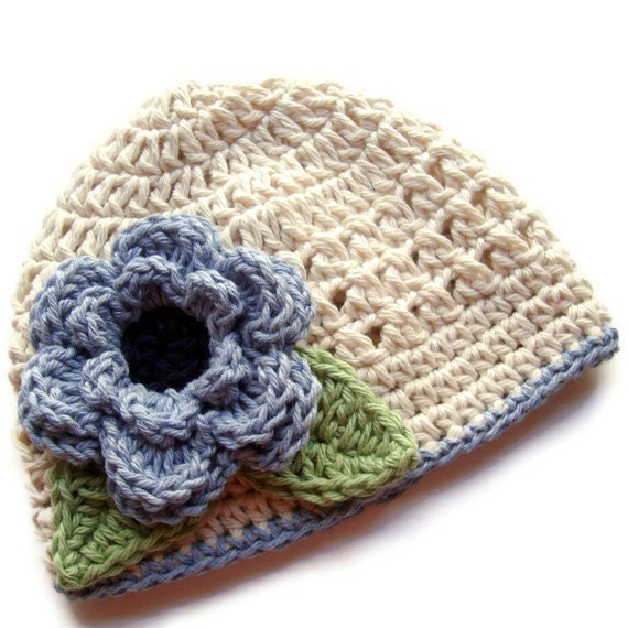 Girls Crochet Hat, Crochet Baby Hat, Girls Crochet Hat with Flower, Baby Girl, Toddler Girl, Ecru, Denim Blue, Sage Green, MADE TO ORDER