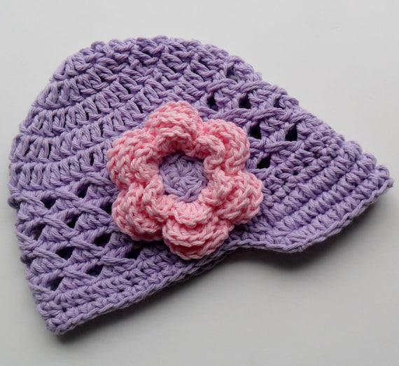 Crochet Baby Hat, Baby Girl Hat, Visor Hat, Crochet Visor Beanie Hat, Lavender and Pink, MADE TO ORDER