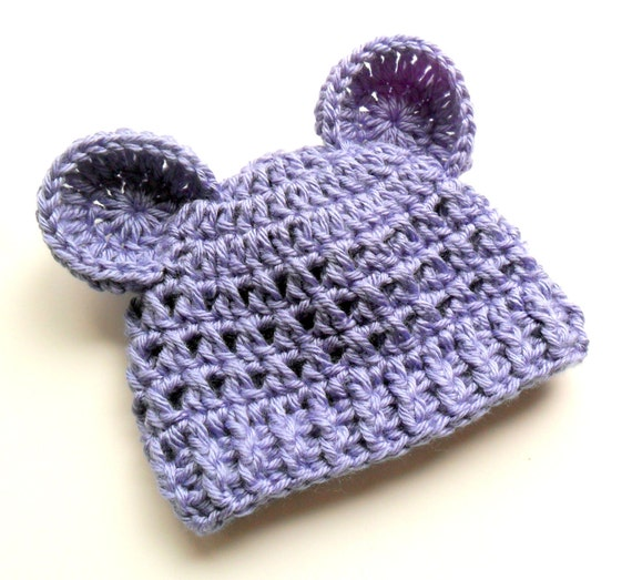 Baby Girl Hat, Baby Boy Hat, Hat with Ears, Crochet Baby Hat with Ears, Infant Boy or Girl Crochet Hat with Ears, Periwinkle, MADE TO ORDER