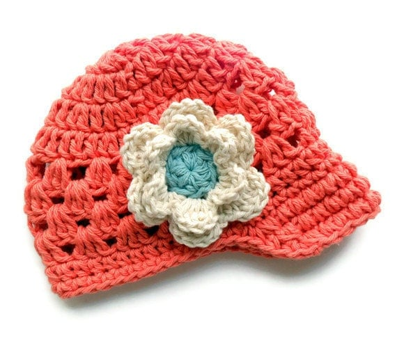 Crochet Baby Visor Hat, Girls Crochet Hat, Baby Girl Hat, Toddler Hat, Tangerine, Ecru and Soft Teal, MADE TO ORDER in your size request