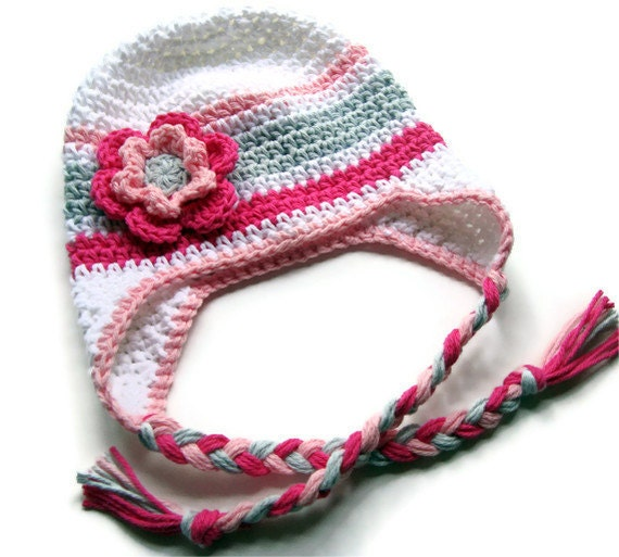 Baby Girl, Baby Girl Crochet Hat, Earflap Hat, Baby or Girls Ear Flap Hat, Baby Girl, Crochet Hat, Toddler Winter Hat, Hat, MADE TO ORDER