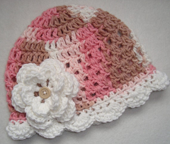 Neopolitan hand Crocheted  hat for infants\/toddler\/girls