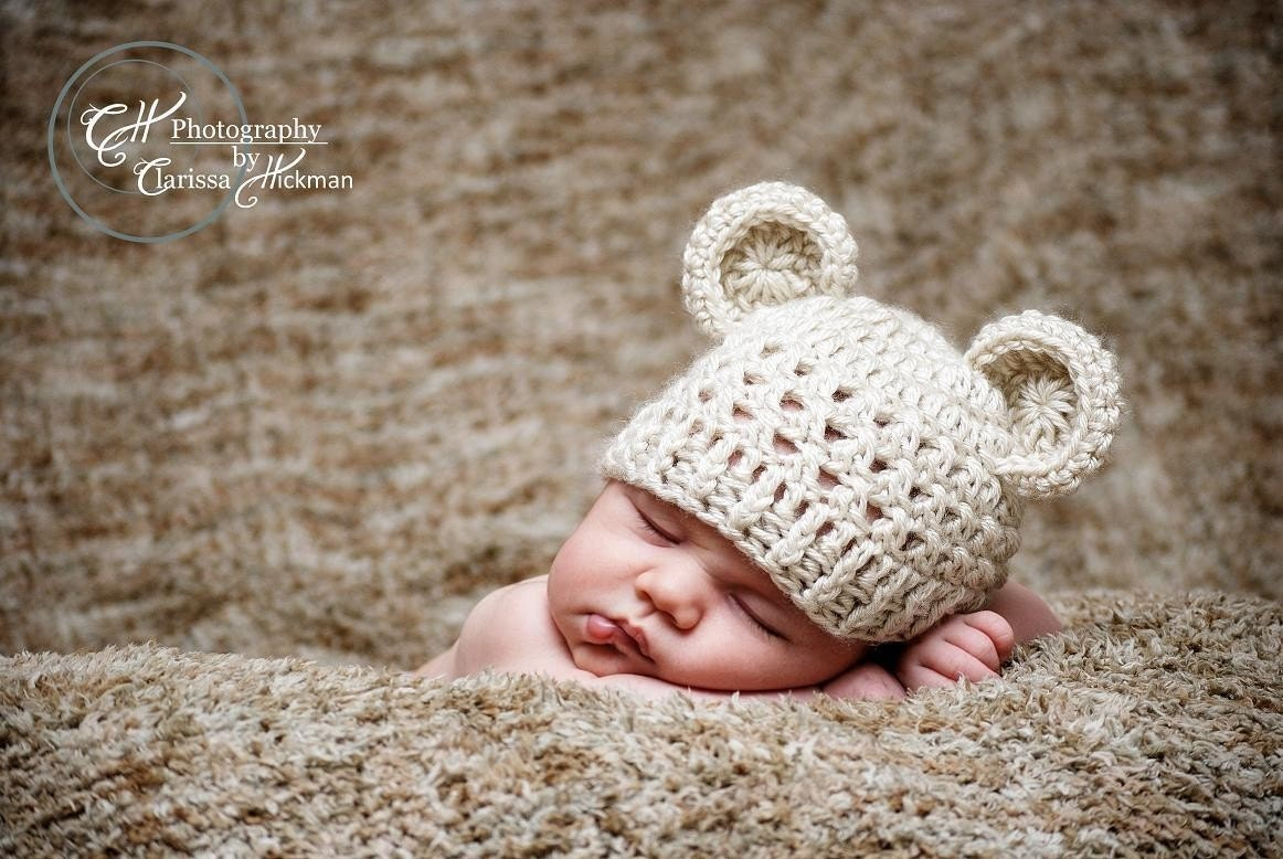 Crochet Baby Hat Bear Ears Pattern : Baby Hat with Ears Crochet Beanie Hat with Ears Crochet