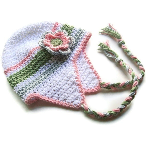 Crochet Baby Hat With Ties Pattern : Girls Crochet Earflap Hat with Ties Crochet Baby Hat Newborn