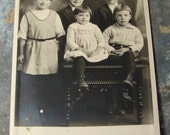 Antique Photo Postcard of Hattie's Family of 5 Children - Verda, Loyd, Virgil, Ruby and Ralph