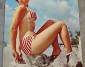 1954 Postcard of Bathing Beauty in Red Stripe Bikini Swimming Suit