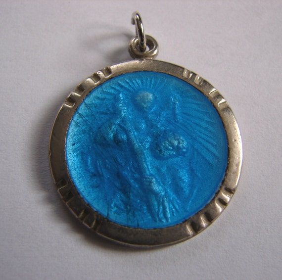 Vintage St Christopher Blue Enamel And Silver Medal Pendant
