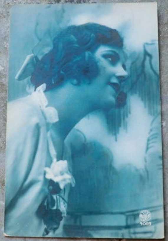 1926 French Postcard Beautiful Woman in Blue Tint
