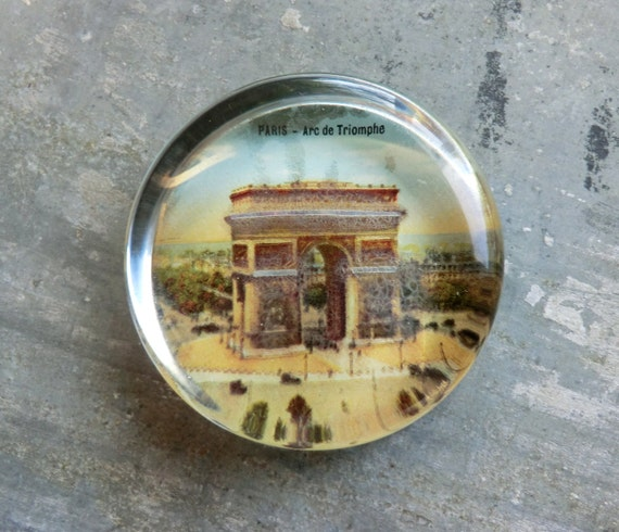 1920's Paris Glass Paperweight Souvenir/Made in France