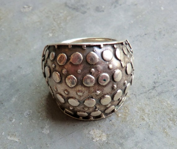 Chunky Modernist Sterling Ring with Silver Dots - Awesome Design