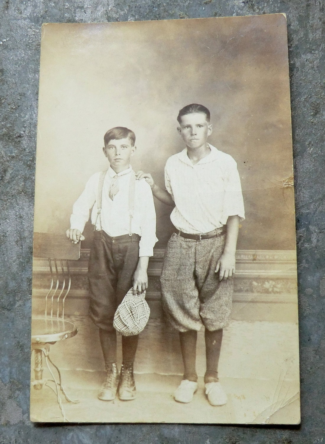 2 Older Boys In Knickers Awesome 1920 S Photo Postcard