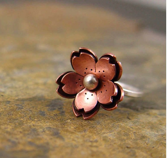 RESERVE for M  -  Copper Double Cherry blossom Ring Metalsmithing, Sakura Jewelry, Valentines jewelry
