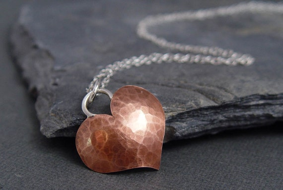 Copper, Heart Pendant, metalsmithing, Gifts for her, Gifts under 45.00, Ready to ship